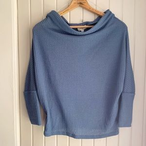 Umgee Blue Thermal Off the Shoulder Top